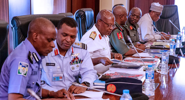 Buhari Service Chiefs Okay Nigeria 4 - Buhari hold meeting with service chiefs over security challenges [Photos]