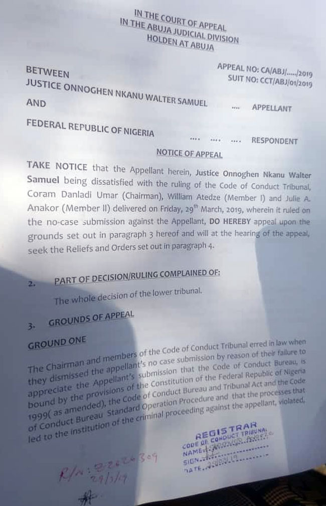 CJN Appeal - Onnoghen files appeal against CCT ruling on his 'no-case submission'