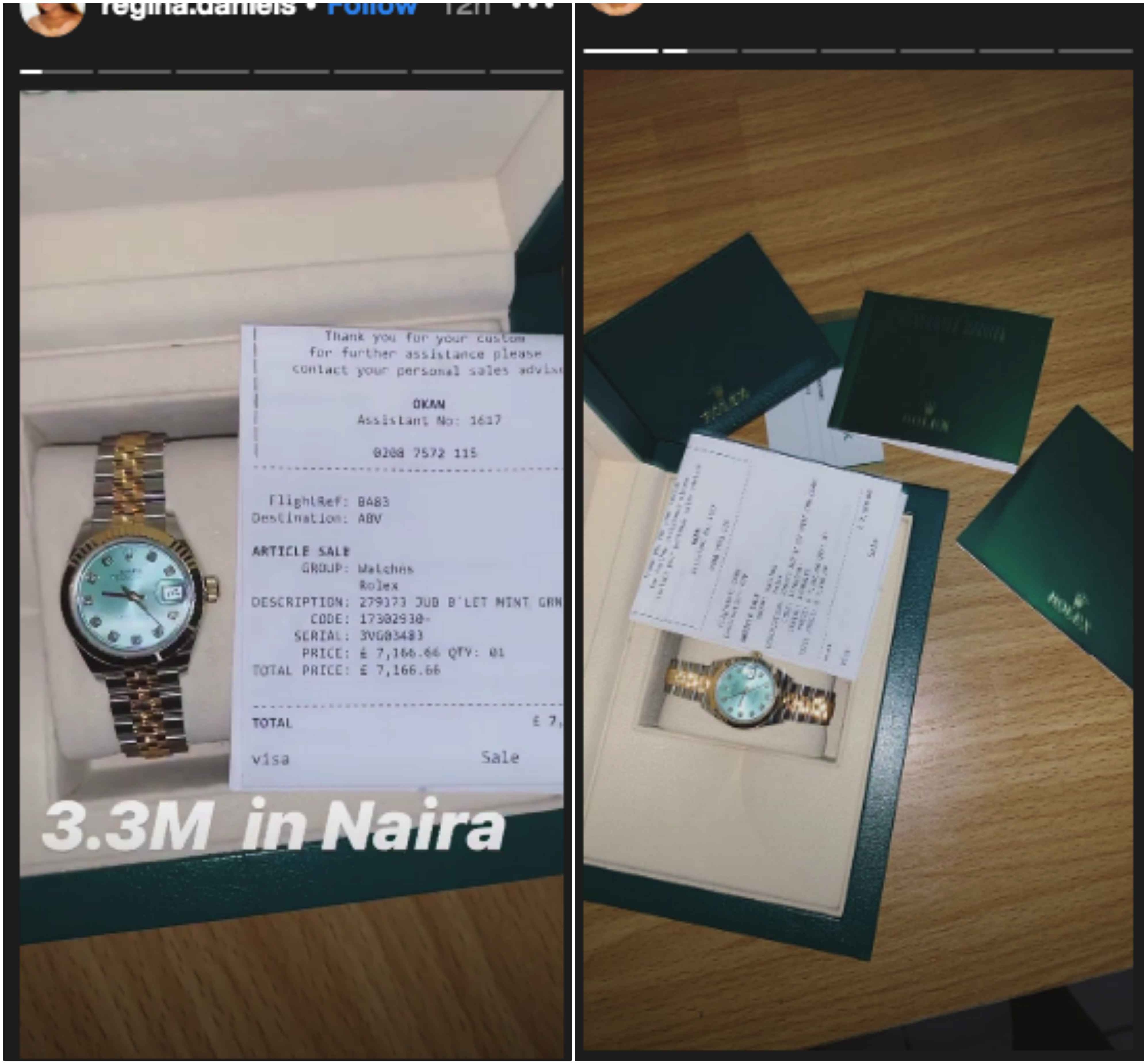 Photo Regina Daniels Okay ng - Regina Daniels causes commotion on social media as she acquires N3.3million Rolex wristwatch