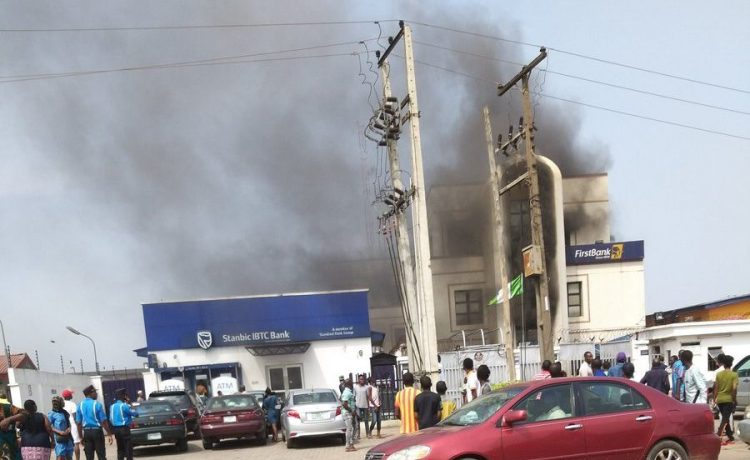 JUST IN! Fire guts First Bank branch in Agege, Lagos [Photo]