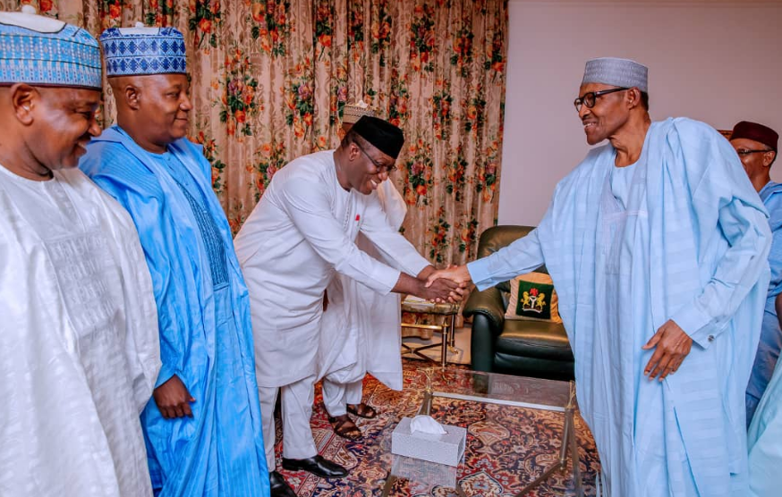 governors Buhari - Six APC Governors meet Buhari in Abuja after return from Daura [Photos]