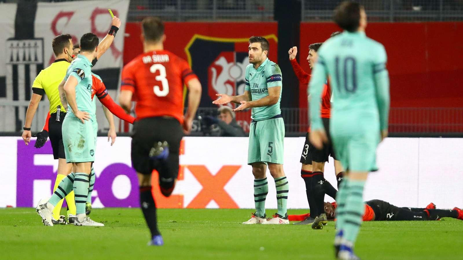 sokratis cropped isds7ztcar6f1kuac9yl3bgpn - Rennes vs Arsenal 3-1: UEFA Europa League Report & Highlights [Video]