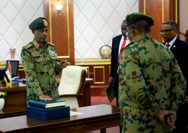 Photo of Awad Ibn Ouf, Sudan defence minister, sworn in as chief of military council