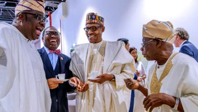 Buhari Obasanjo 390x220 - Buhari, Obasanjo all smiles as they meet in Senegal [Photos]