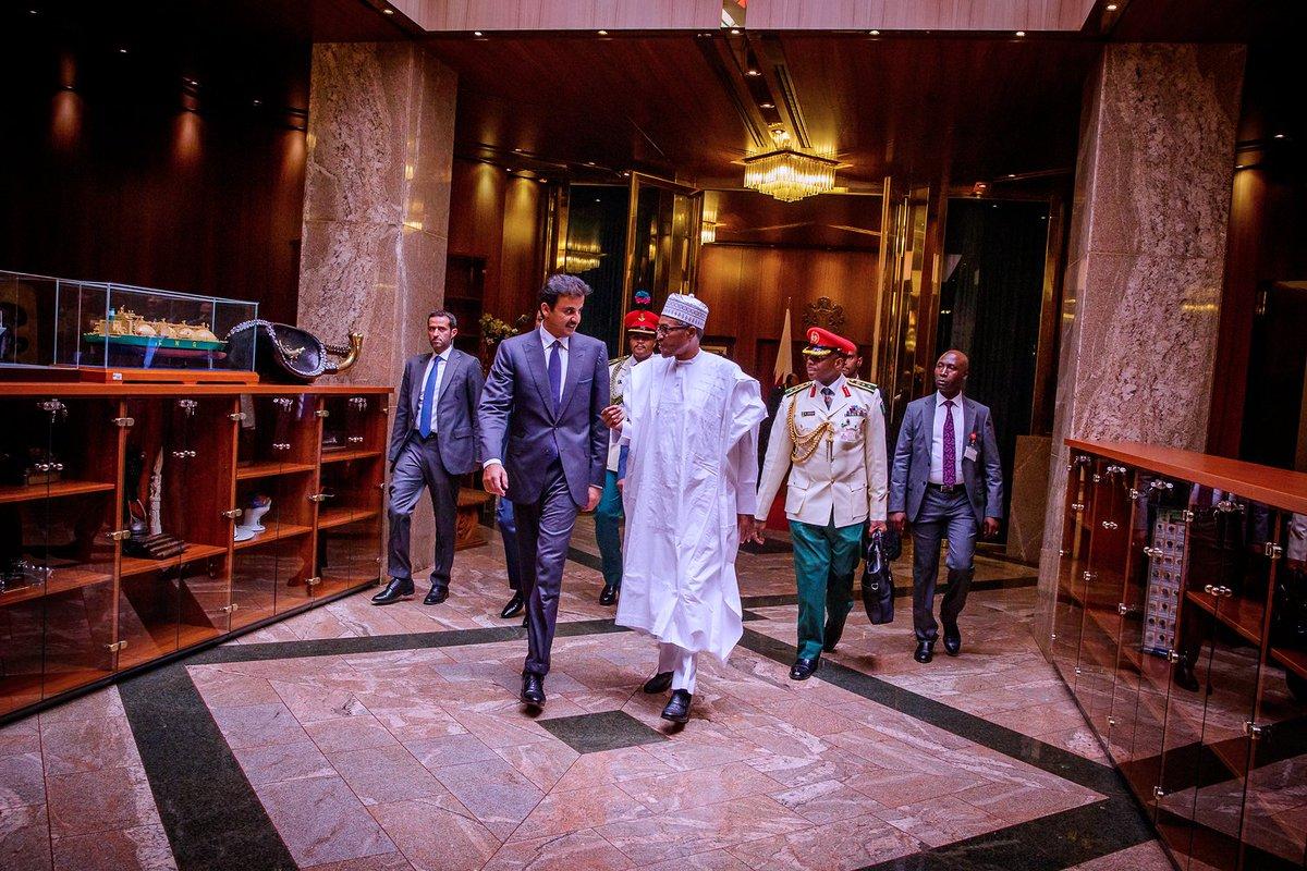 Buhari Qatar Emir Okay ng 2 - Buhari welcomes Emir of Qatar in Aso Rock [Photos]
