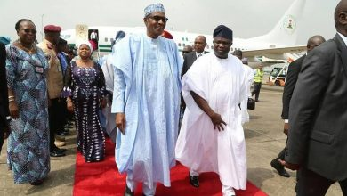 Buhari in Lagos 1 390x220 - Buhari lands in Lagos for commissioning of projects [Photos]