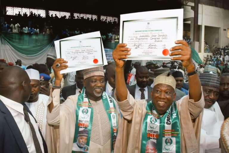 Ganduje Certificate Okay ng 1 - Ganduje receives certificate of return from INEC [Photos]