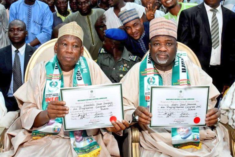 Ganduje Certificate Okay ng 3 - Ganduje receives certificate of return from INEC [Photos]