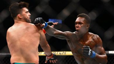 Israel Adesanya Kelvin Gastelum Okay ng 390x220 - Israel Adesanya knocks out Kelvin Gastelum in fifth round to win UFC interim middleweight title