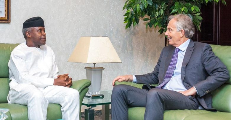 Photo of Tony Blair meets with Osinbajo as he arrives Nigeria