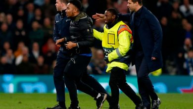 Tottenham fan Okay ng 390x220 - Tottenham charged by UEFA for fan pitch invasion during Champions League match