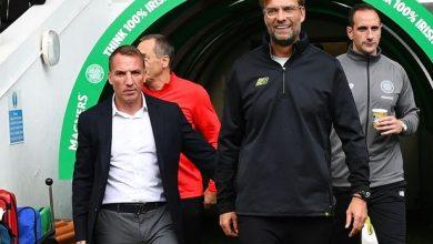 Brendan Rodgers with Liverpool manager Jurgen Klopp