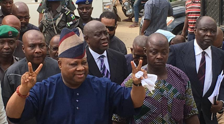 Photo of Senator Adeleke in court following his arrest by Police