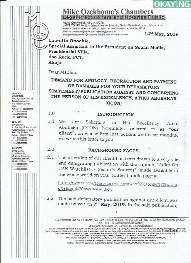 Atiku letter Buhari aide Lauretta Okay ng 1 - Atiku warns Buhari's aide, ask for N500m damages, apology over defamatory comments