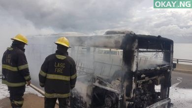 BRT Third Mainland Bridge Okay ng 1 390x220 - BRT Bus burst into flames on Third Mainland Bridge in Lagos [Photos]
