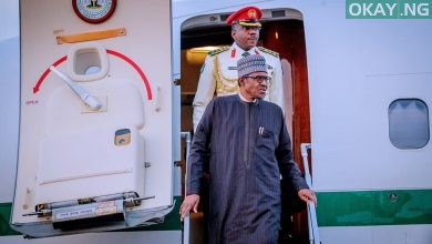 Buhari in Abuja United Kingdom 1 Okay ng 390x220 - Buhari returns to Abuja after lesser hajj in Saudi Arabia