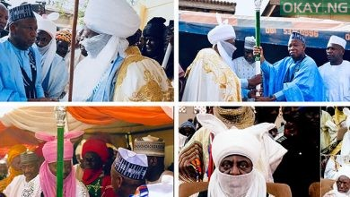 Ganduje Kano Emirates Okay ng 390x220 - Ganduje presents staff of office to four new emirs in Kano
