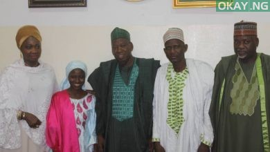 Ganduje Zainab Okay ng 1 390x220 - Ganduje meets with Zainab Aliyu, Ibrahim Abubakar after return from Saudi Arabia [Photos]