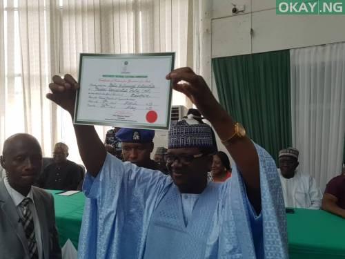 Photo of INEC presents certificate of return to PDP's Mattwalle in Zamfara