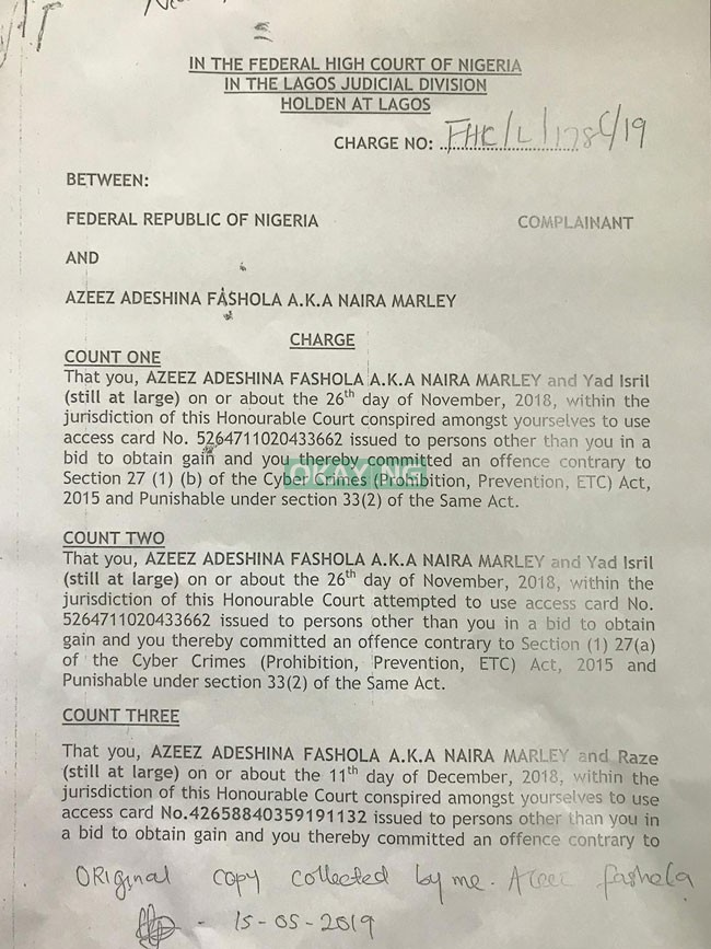 Naira Marley 1 EFCC Okay ng - See 11 charges filed by EFCC against Naira Marley in court