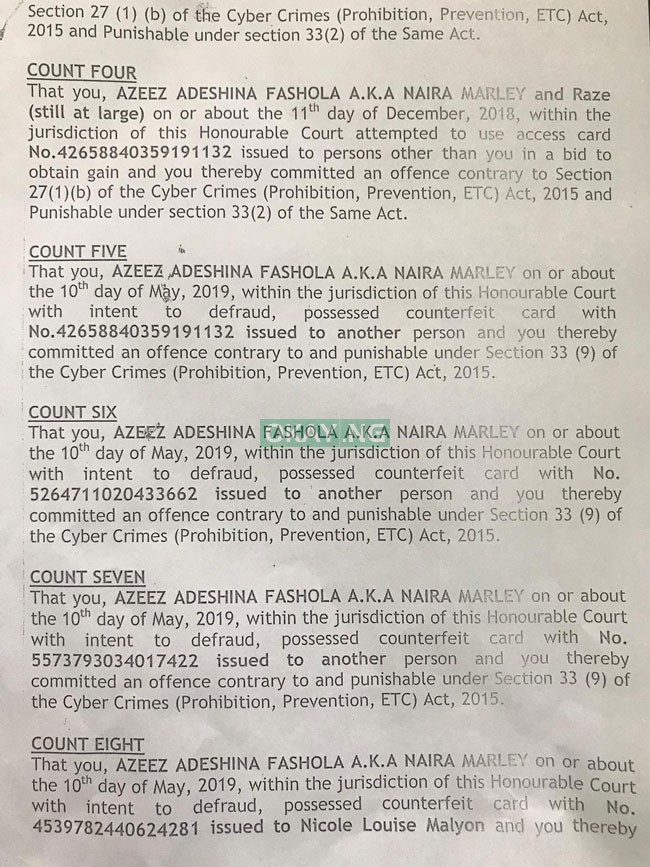 Naira Marley 2 EFCC Okay ng 1 - See 11 charges filed by EFCC against Naira Marley in court