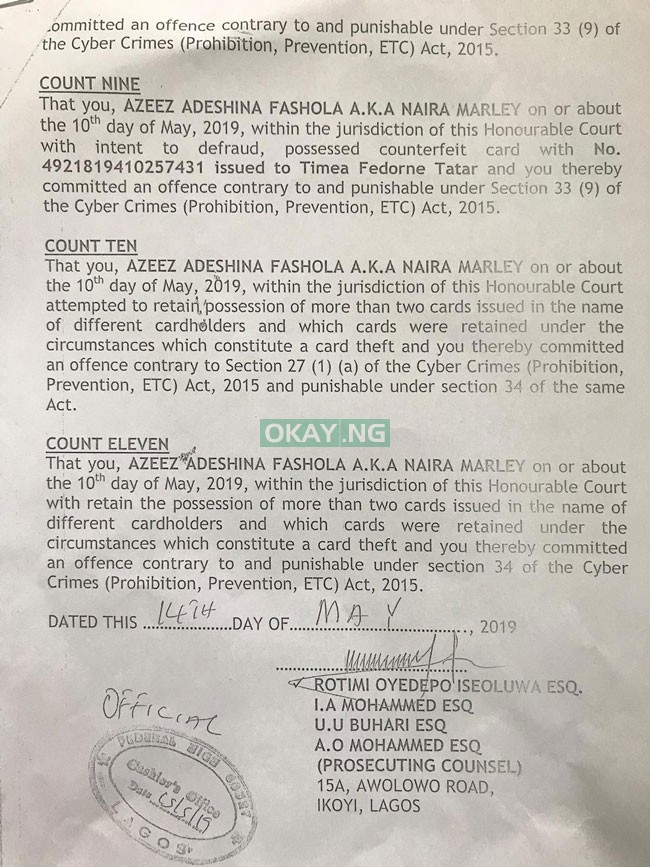 Naira Marley 3 EFCC Okay ng - See 11 charges filed by EFCC against Naira Marley in court