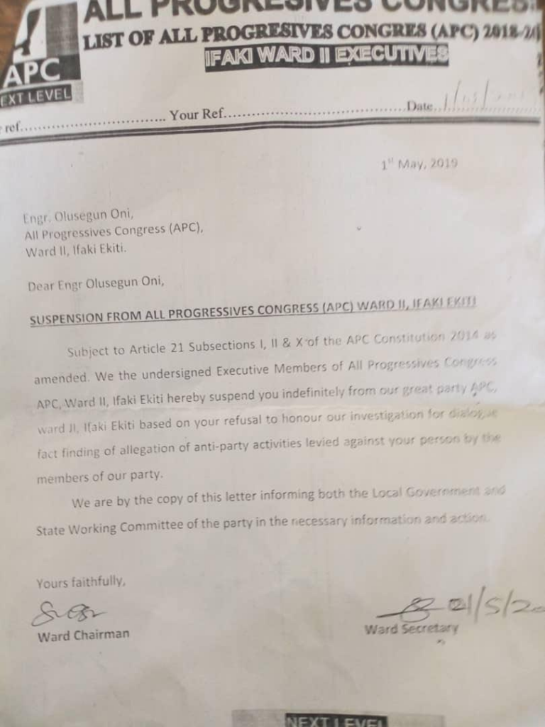 Oni Letter Okay ng - APC in Ekiti indefinitely suspends Segun Oni