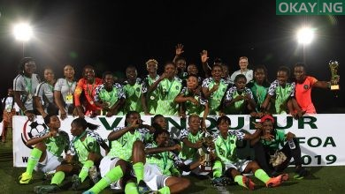 Super Falcons WAFU Okay ng 1 390x220 - Buhari praises Super Falcons for winning 2019 WAFU Women's Cup