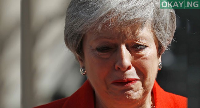 Photo of Moment Theresa May broke down in tears as she announce her resignation [Photos]