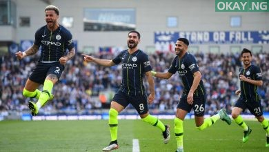 Manchester City players celebrating goals against Brighton and Hove Albion