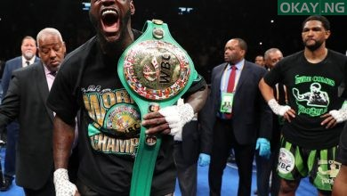 wilder screams after retaining title Okay ng 390x220 - Wilder knocks out Breazeale in first round to keep WBC heavyweight title