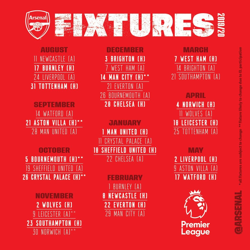 Arsenal Fixtures 2019 20 PL FINAL v2 - Arsenal 2019/2020 Premier League Fixtures Released [See Full fixtures]