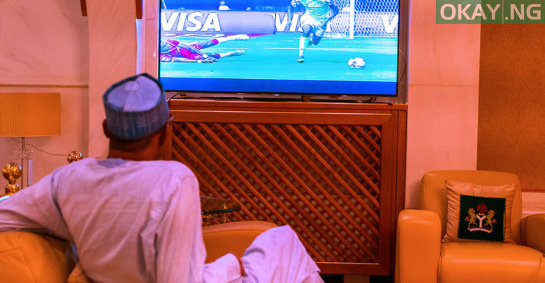 Photo of AFCON: Photos of Buhari watching Super Eagles' match against Burundi