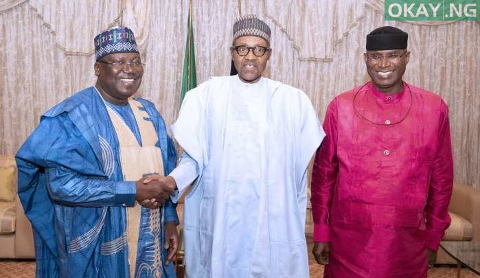 Photo of Buhari all smiles as he receives Lawan, Omo-Agege in Aso Rock [Photos]