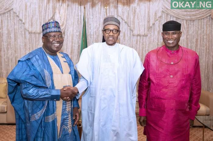 Buhari Omo Agege okay ng 1 - Buhari all smiles as he receives Lawan, Omo-Agege in Aso Rock [Photos]