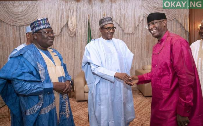 Buhari Omo Agege okay ng 2 - Buhari all smiles as he receives Lawan, Omo-Agege in Aso Rock [Photos]
