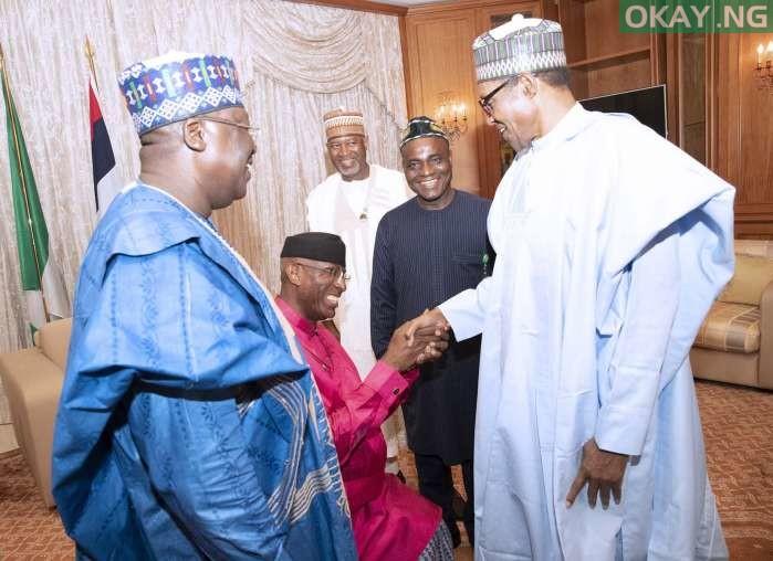 Buhari Omo Agege okay ng 3 - Buhari all smiles as he receives Lawan, Omo-Agege in Aso Rock [Photos]
