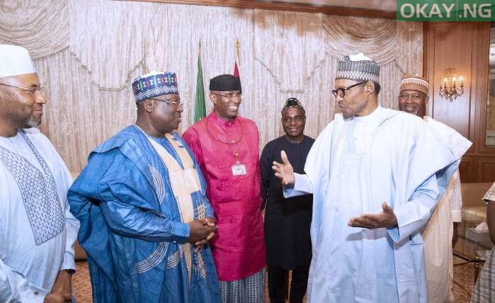 Buhari Omo Agege okay ng 4 - Buhari all smiles as he receives Lawan, Omo-Agege in Aso Rock [Photos]