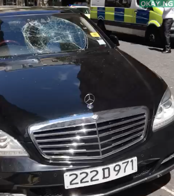 Destryoed car at the high commission 1 - How Man destroyed several vehicles at Nigerian high commission in London (Watch Video)