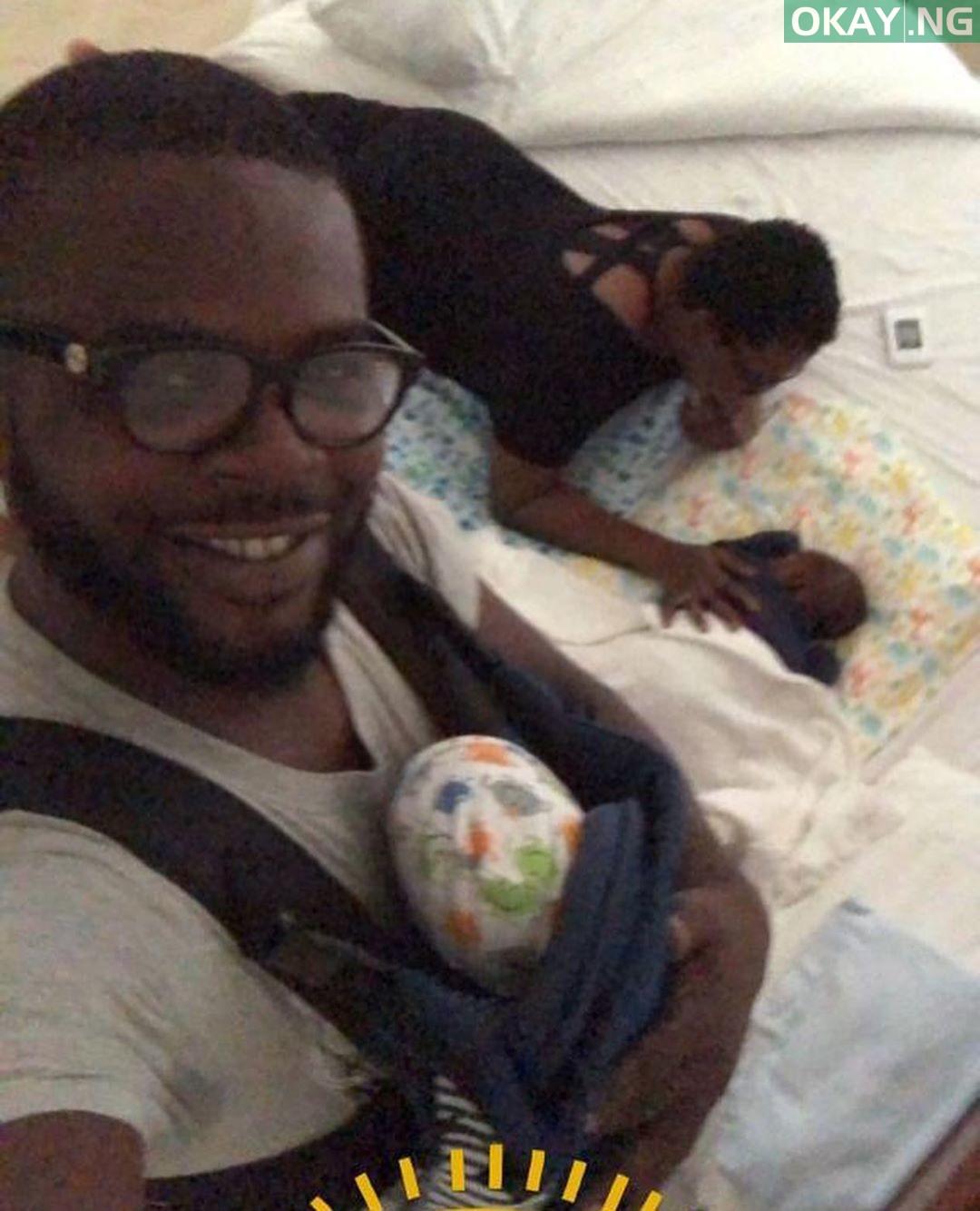 Funke Akindele-Bello and JJC Skillz with their twins