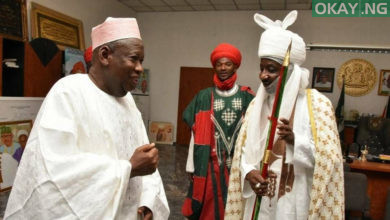 Ganduje Sanusi okay ng 390x220 - Ganduje, Sanusi meet, finally reconcile in Abuja
