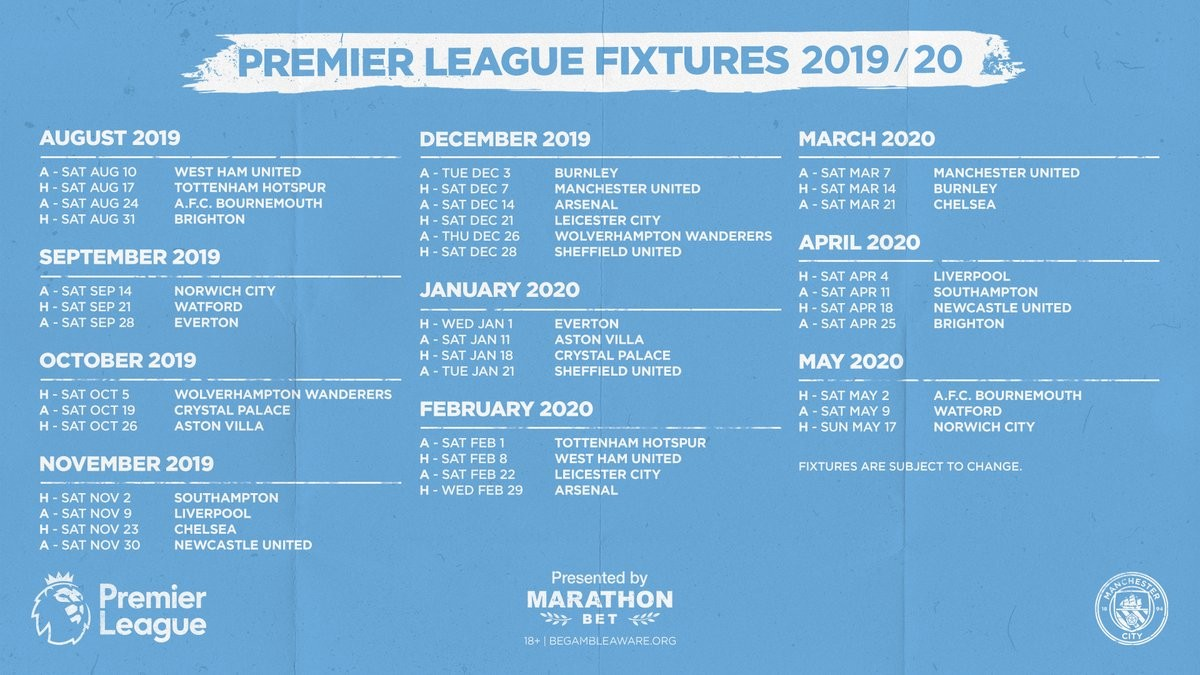 Man city - Manchester City 2019/2020 Premier League Fixtures Released [See Full fixtures]