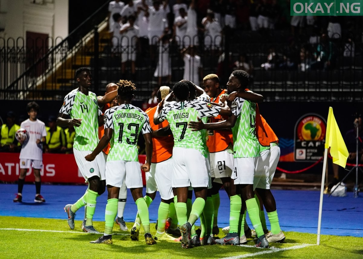 Nigeria celebrate Okay ng - 2019 AFCON: Nigeria beat Guinea 1-0 to qualify for Round of 16