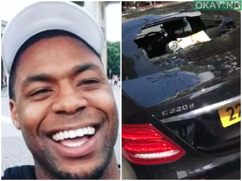 Nigerian man UK 1 - How Man destroyed several vehicles at Nigerian high commission in London (Watch Video)