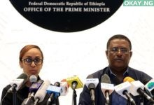 Ethiopia's Press Secretary Billene Seyoum (L) and spokesperson of the Primer Minister of Ethiopia Negussu Tilaaun