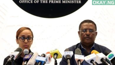 Ethiopia's Press Secretary Billene Seyoum (L) and spokesperson of the Primer Minister of Ethiopia Negussu Tilaaun