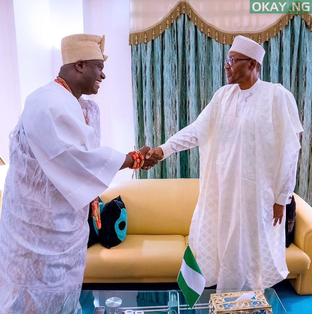 Buhari Ooni of Ife Okay ng 1 - Buhari receives Ooni of Ife in State House [Photos]