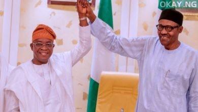 Buhari oyetola 1 390x220 - Osun: Buhari congratulates Oyetola on Supreme Court victory