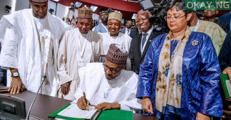 Photo of Buhari's words after signing AfCFTA agreement at AU Summit