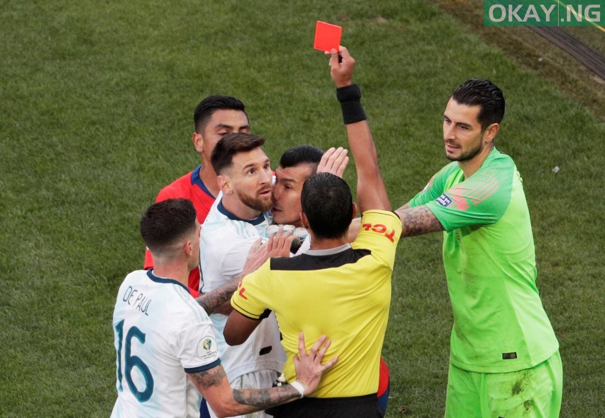 Messi received a red card